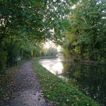 view of grand union canal leicester section from the hire boat