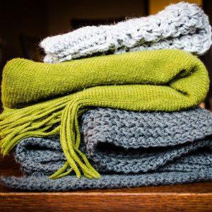 blankets on narrowboat
